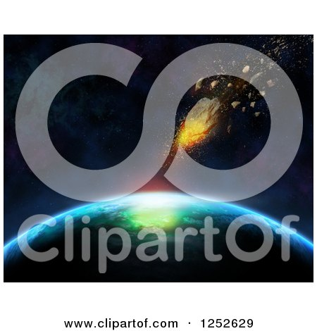 Clipart of a 3d Meteorite Shooting Towards Planet Earth - Royalty Free Illustration by KJ Pargeter