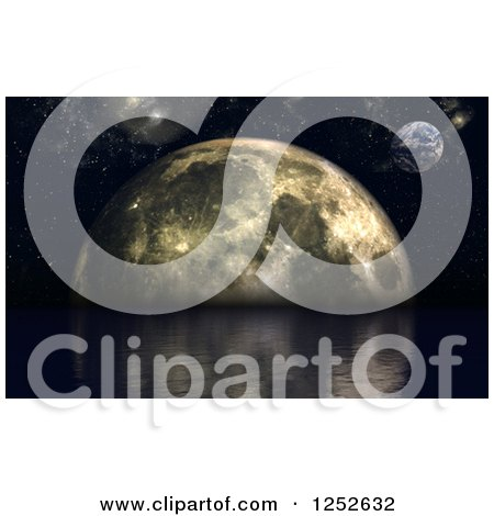Clipart of a 3d Ocean on a Foreign Planet with a Moon - Royalty Free Illustration by KJ Pargeter