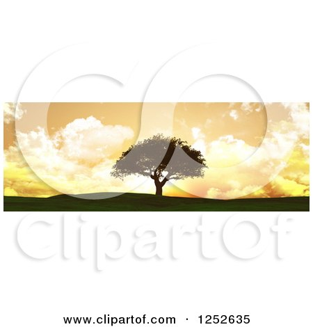 Clipart of a 3d Lone Tree on a Hill Against an Orange Sunset with Clouds - Royalty Free Illustration by KJ Pargeter
