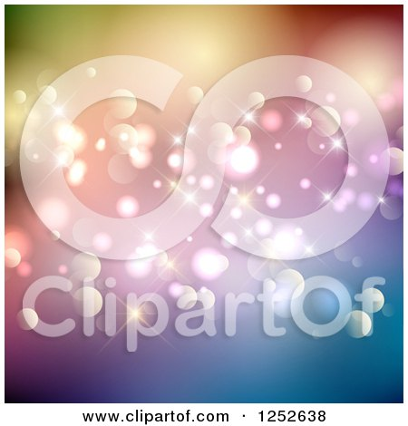 Clipart of a Colorful Sparkly Background with Flares and Bokeh - Royalty Free Vector Illustration by KJ Pargeter