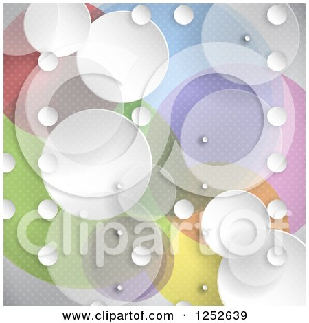 Clipart of a Colorful Background with White and Transparent Circles - Royalty Free Vector Illustration by KJ Pargeter