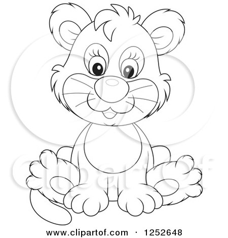 Clipart of a Black and White Cute Lion Cub Sitting - Royalty Free Vector Illustration by Alex Bannykh