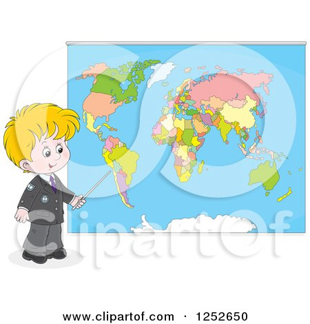 Clipart of a Blond Caucasian School Boy Pointing to a Map - Royalty Free Vector Illustration by Alex Bannykh