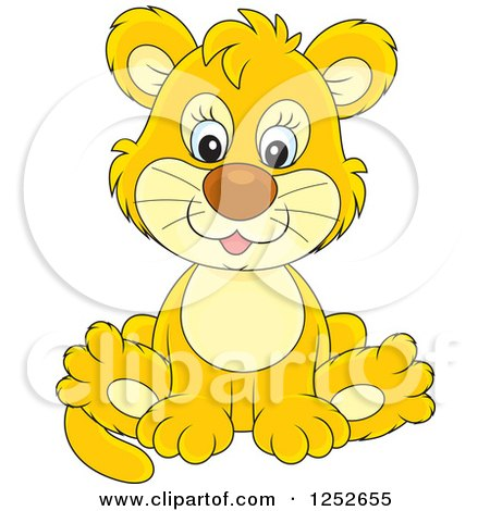 Clipart of a Cute Lion Cub Sitting - Royalty Free Vector Illustration by Alex Bannykh