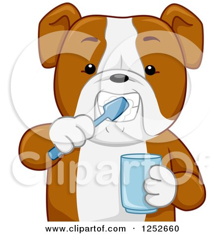Clipart of a Bulldog Brushing His Teeth and Holding a Cup - Royalty Free Vector Illustration by BNP Design Studio