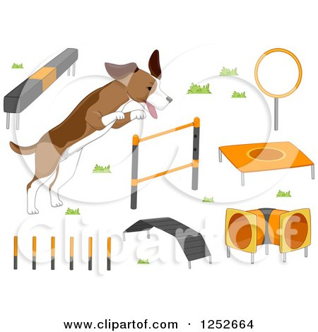 Dog with Agility Course Items Posters, Art Prints