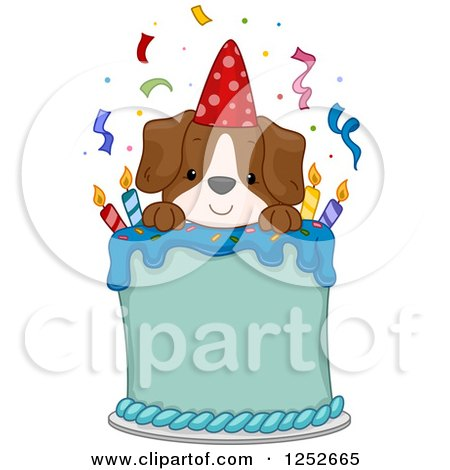 Clipart of a Happy Puppy Dog on a Birthday Cake - Royalty Free Vector Illustration by BNP Design Studio