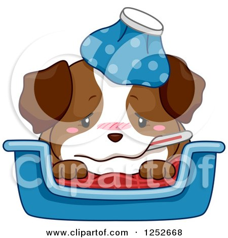Clipart of a Cute Sick Puppy Dog with a Thermometer and Ice Pack - Royalty Free Vector Illustration by BNP Design Studio