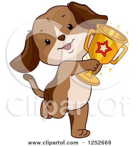 Clipart of a Cute Proud Puppy Dog Holding a Trophy - Royalty Free Vector Illustration by BNP Design Studio