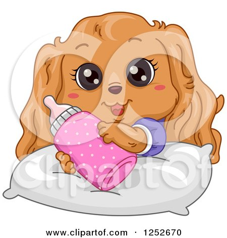 Clipart of a Cute Cocker Spaniel Puppy with a Bottle - Royalty Free Vector Illustration by BNP Design Studio