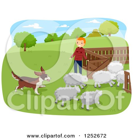 Clipart of a Red Haired Caucasian Farmer and Herding Dog with Sheep - Royalty Free Vector Illustration by BNP Design Studio