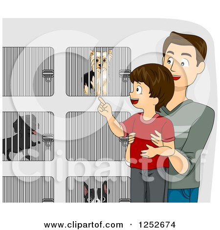 Clipart of a Brunette Caucasian Father and Son Picking out a Dog at a Shelter - Royalty Free Vector Illustration by BNP Design Studio