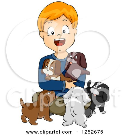 Clipart of a Happy White Boy with Puppies - Royalty Free Vector Illustration by BNP Design Studio