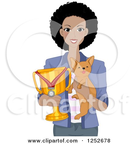 Clipart of a Proud African American Woman Holding Her Award Winning Dog and Trophy - Royalty Free Vector Illustration by BNP Design Studio