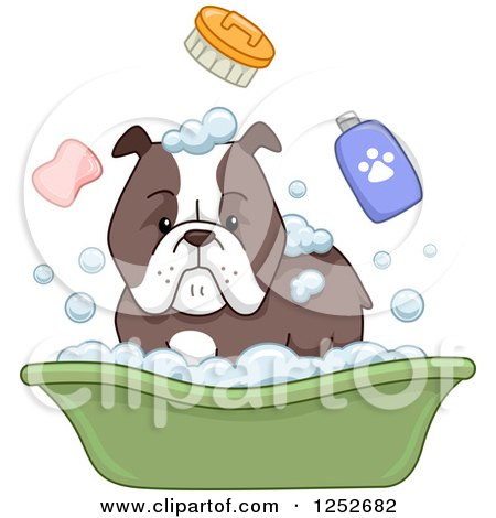 Clipart of a Bulldog and Bath Accessories - Royalty Free Vector Illustration by BNP Design Studio