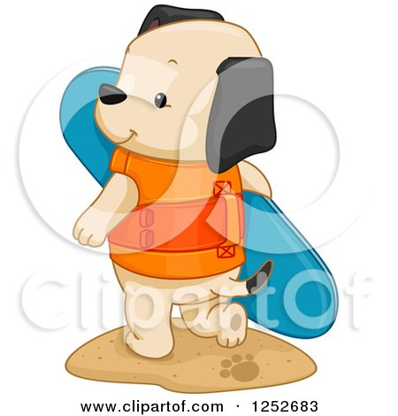 Clipart of a Cute Puppy Dog with a Surf Board - Royalty Free Vector Illustration by BNP Design Studio