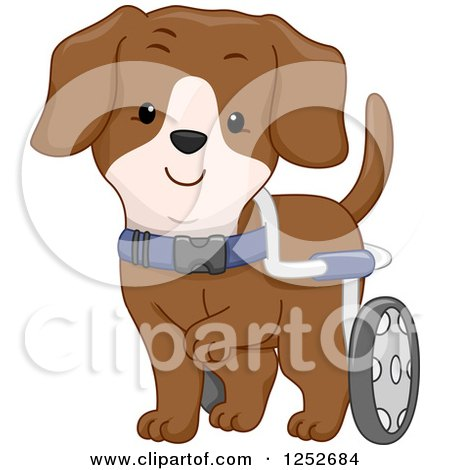 Clipart of a Handicap Dog with Wheels - Royalty Free Vector Illustration by BNP Design Studio