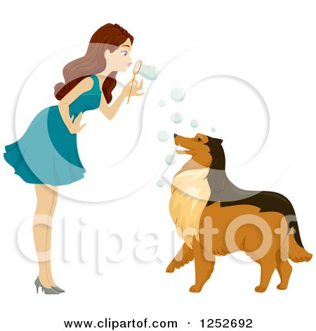 Clipart of a Brunette Caucasian Woman Blowing Bubbles at Her Collie Dog - Royalty Free Vector Illustration by BNP Design Studio