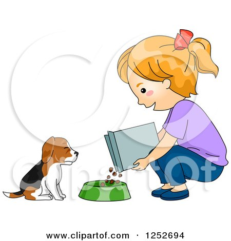 Clipart of a Red Haired White Girl Feeding Her Beagle Puppy Dog - Royalty Free Vector Illustration by BNP Design Studio
