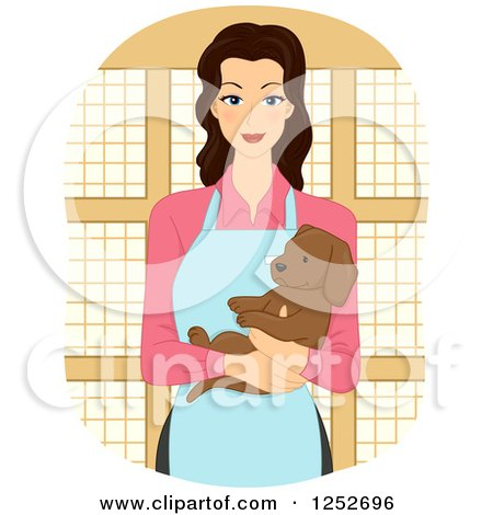 Clipart of a Happy Pet Shop Woman Holding a Puppy Dog - Royalty Free Vector Illustration by BNP Design Studio