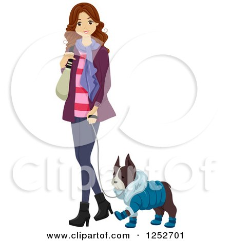 Clipart of a Brunette Caucasian Woman Walking Her Dog in Winter Clothes - Royalty Free Vector Illustration by BNP Design Studio