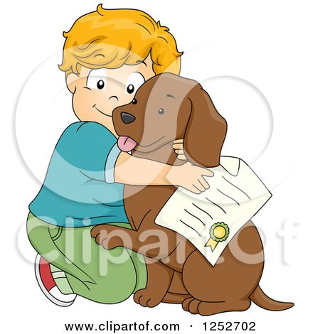 Clipart of a Caucasian Boy Hugging His Newly Adopted Dog - Royalty Free Vector Illustration by BNP Design Studio