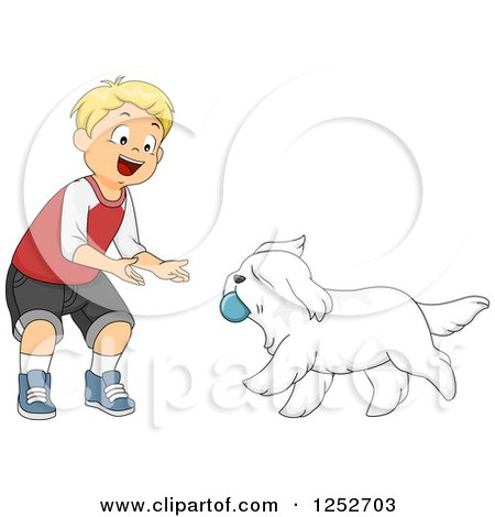 Clipart of a Blond Caucasian Boy Playing Ball Fetch with a Dog - Royalty Free Vector Illustration by BNP Design Studio