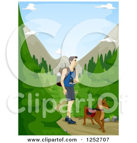 Clipart of a Caucasian Man Hiking Through a Forest with His Dog - Royalty Free Vector Illustration by BNP Design Studio