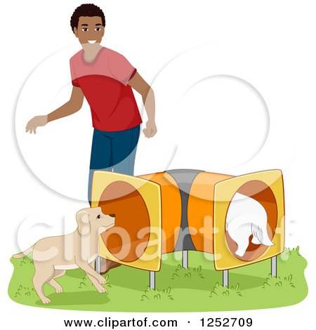 Clipart of a Black Man Running His Dogs Through an Agility Course Tunnel - Royalty Free Vector Illustration by BNP Design Studio