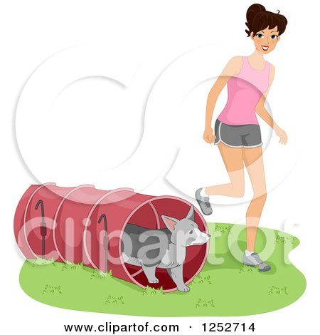 Caucasian Woman Running Her Dog Through an Agility Course Tunnel Posters, Art Prints