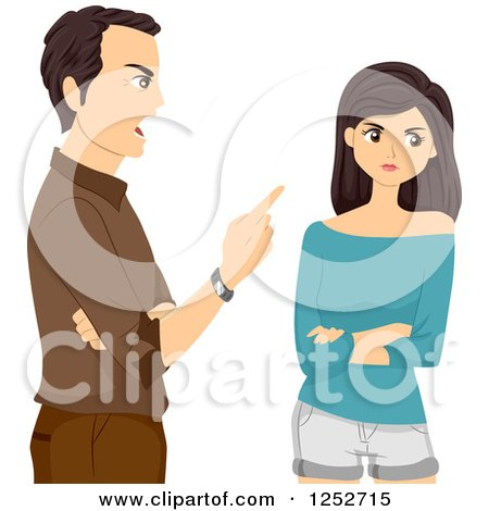 Clipart of a Mad Father Scolding His Teenage Daughter - Royalty Free Vector Illustration by BNP Design Studio