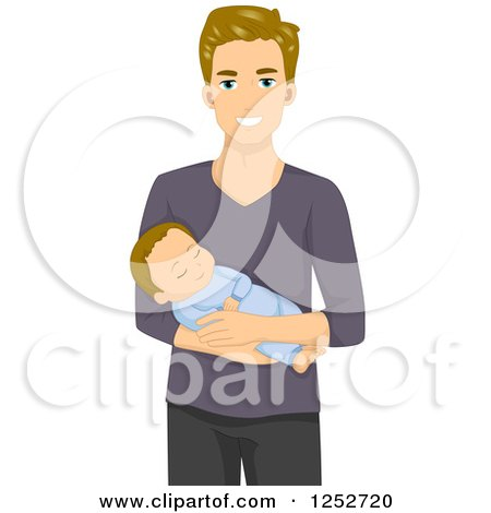 Clipart of a Caucasian Father Holding His Baby - Royalty Free Vector Illustration by BNP Design Studio