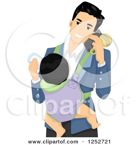 Clipart of a Happy Father Talking on a Cell Phone and Feeding a Baby on His Chest - Royalty Free Vector Illustration by BNP Design Studio