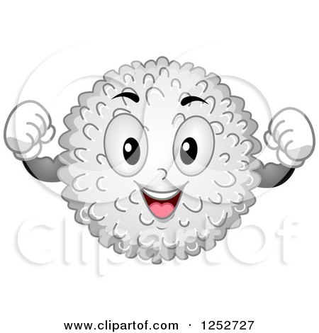 Clipart of a Strong White Blood Cell Character Flexing - Royalty Free Vector Illustration by BNP Design Studio