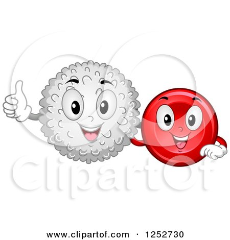 Clipart of Happy White and Red Blood Cells - Royalty Free Vector Illustration by BNP Design Studio