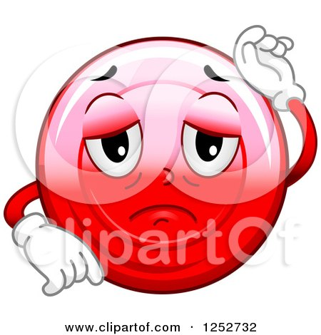 Clipart of a Sick Red Blood Cell Character - Royalty Free Vector Illustration by BNP Design Studio