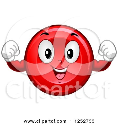 Clipart of a Strong Red Blood Cell Character Flexing - Royalty Free Vector Illustration by BNP Design Studio