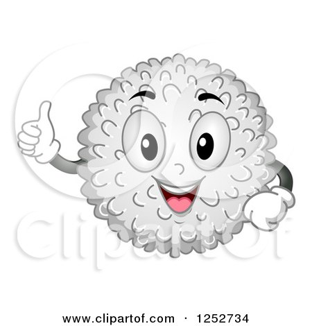 Clipart of a Happy White Blood Cell Character Holding a Thumb up - Royalty Free Vector Illustration by BNP Design Studio