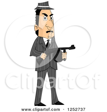 Clipart of a Mafia Mobster Man Holding a Machine Gun - Royalty Free Vector Illustration by BNP Design Studio