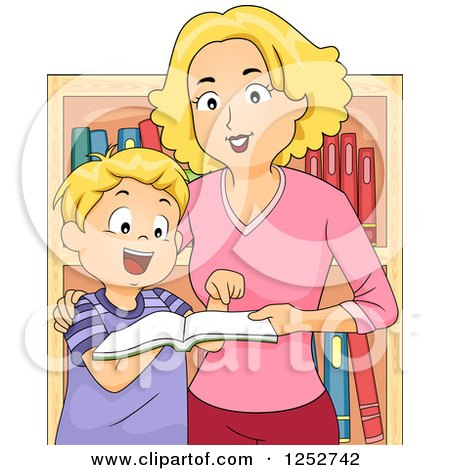 Clipart of a Blond Caucasian Mother and Son Looking at Books in a Store - Royalty Free Vector Illustration by BNP Design Studio