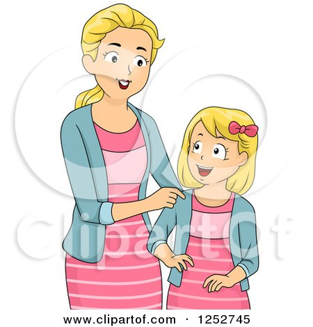 Clipart of a Blond Caucasian Mother and Daughter in Matching Outfits - Royalty Free Vector Illustration by BNP Design Studio