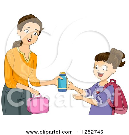 Clipart of a Brunette Caucasian Mother Giving Her School Girl Daughter Her Lunch and Thermos - Royalty Free Vector Illustration by BNP Design Studio