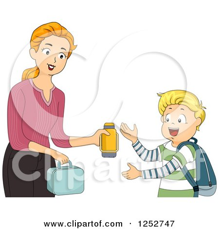 Clipart of a Brunette Caucasian Mother Giving Her School Boy Son His Lunch and Thermos - Royalty Free Vector Illustration by BNP Design Studio