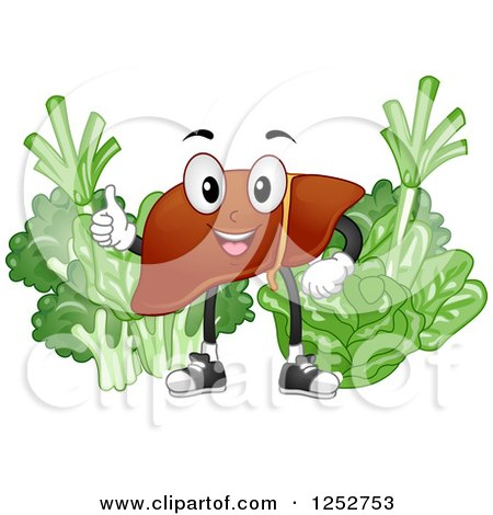Clipart of a Happy Liver with Healthy Green Vegetables - Royalty Free Vector Illustration by BNP Design Studio