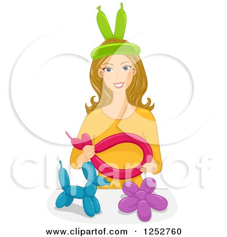 Clipart of a Happy Caucasian Blond Woman Shaping Balloons - Royalty Free Vector Illustration by BNP Design Studio