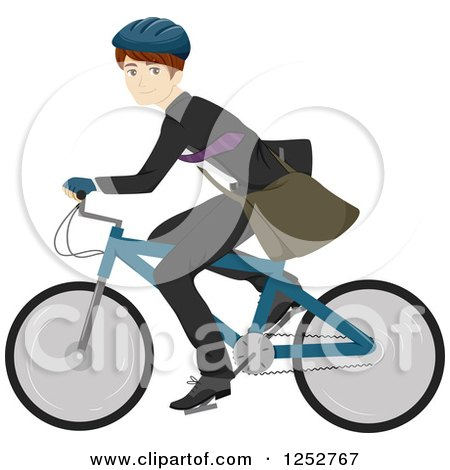 Clipart of a Happy Caucasian Man Riding a Bike to Work - Royalty Free Vector Illustration by BNP Design Studio