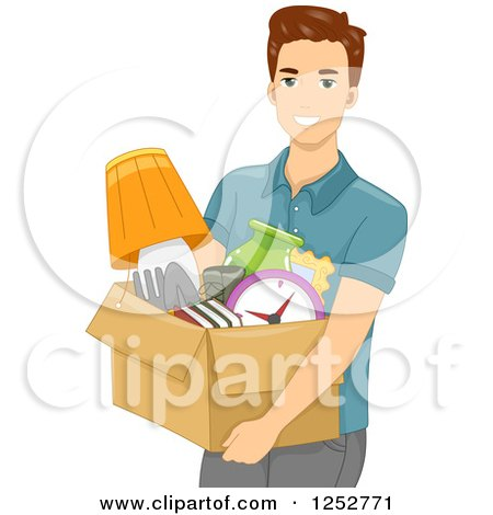 Clipart of a Young White Man Carrying a Box of Items - Royalty Free Vector Illustration by BNP Design Studio