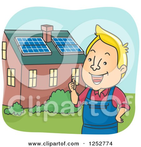 Clipart of a Blond White Man Outside a House with Solar Panels on the Roof - Royalty Free Vector Illustration by BNP Design Studio