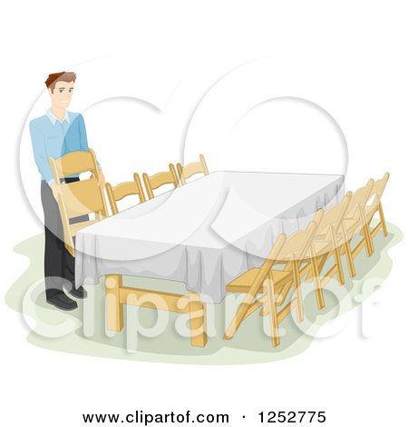 Clipart of a Caucasian Man Preparing a Table for an Informal Dinner - Royalty Free Vector Illustration by BNP Design Studio