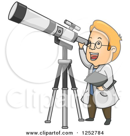 Clipart of a Red Haired White Male Astronomer Looking Through a Telescope - Royalty Free Vector Illustration by BNP Design Studio